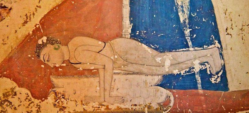 Un Nath yogi che esegue mayurasana, dipinto nel tempio di Maha Mandir, Jodpur, XIX secolo. http://lenscraft.com/2010/12/yoga-maha-mandir/