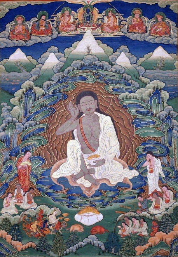 Bhutanese_painted_thanka_of_Milarepa_(1052-1135),_Late_19th-early_20th_Century,_Dhodeydrag_Gonpa,_Thimphu,_Bhutan